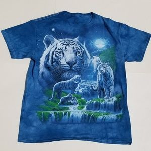 Tacky White Tiger Waterfall Moonscape Tie Dye Tee